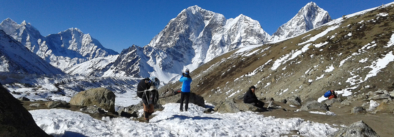 Resting and taking picture on Everest trail